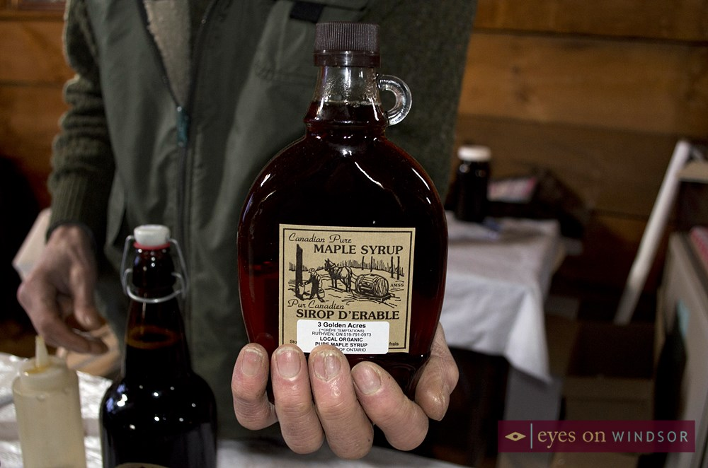 Pure locally made organic maple syrup from Ruthven's 3 Golden Acres was available for purchase at the Maple Syrup Festival.