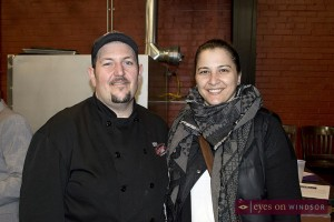 Former Battle of the Hors D'oeuvre winner Marco Maliza of Marco's Pizzeria with judge Pina Ciotoli of Windsor Eats.