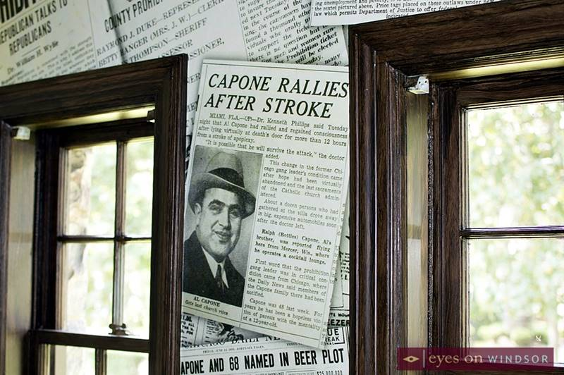 Custom wallpaper at the Low Martin House featuring Al Capone.