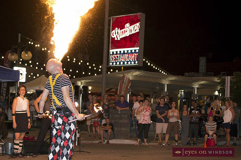 Walkerville Buskerfest Street Performer Thrills The Crowd With A Fire Show.