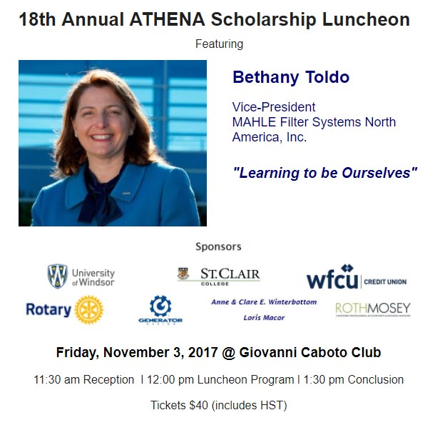 18th Annual ATHENA Scholarship Luncheon featuring Bethany Toldo