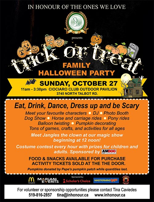In Honour Of The Ones We Love Annual Trick or Treat Family Halloween Party Poster