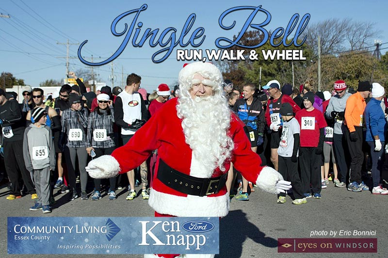 Jingle Bell Run, Walk and Wheel | Santa with runners and walkers in Essex, Ontario.