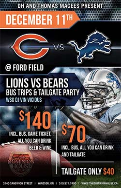 Lions vs Bears Tailgate Party and Bus Trip From Windsor