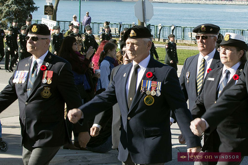 Members of the military marching in Dieppe Park for Remembrance Day Parade in Windsor.