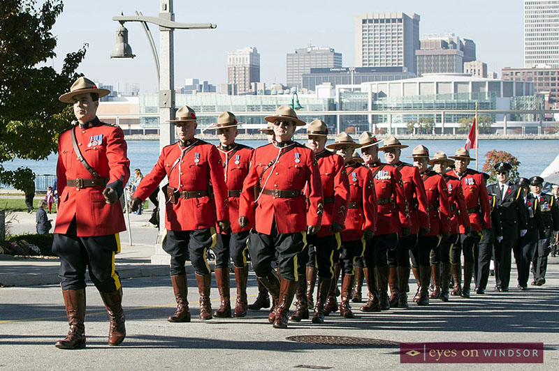RCMP Marching in Dieppe Gardens During Remembrance Day Parade in Windsor, Ontario.