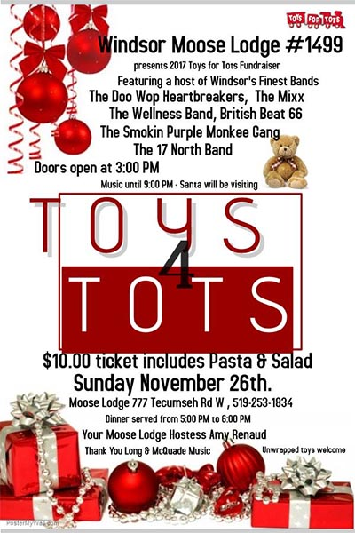 Toys For Tots 2017 Poster : Toys for tots fundraiser windsor moose lodge