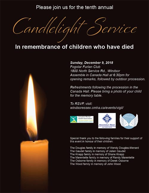 Annual Candlelight Vigil in remembrance of children who have died hosted by the Canadian Mental Health Association of Windsor Essex County