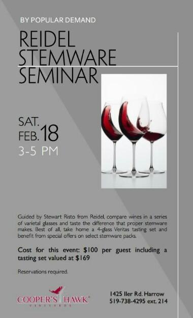 Reidel Wine Glass Seminar at Cooper's Hawk Vineyards Poster