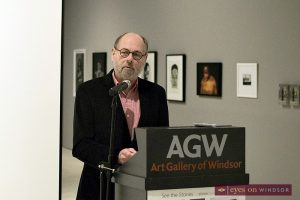 Poet Laureate Marty Gervais reads poem at the Art Gallery of Windsor.