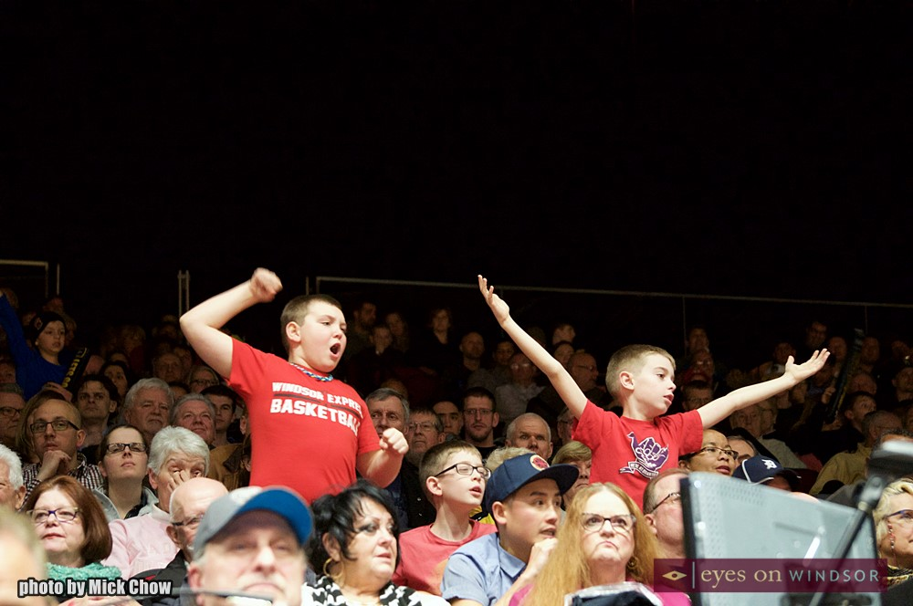 Young boys cheer for the Windsor Express during Clash at the Colosseum IV.