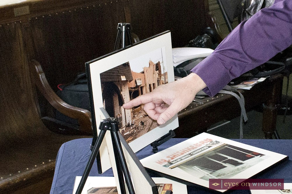Fred Groves points to photo of 1980 natural gas explosion that happened in the Town of Essex.