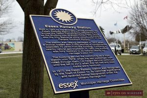 Bronze Heritage Plaque outside Essex Railway Station the day it was unveiled by the Essex Heritage Inc. committee.