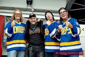 Dino Chiodo Unifor Local 444 President with the Hanson Brothers.