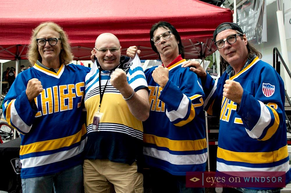 Eric Bonnici roughed up by the Hanson Brothers while on assignment at the 5th Annual Bob Probert Ride.