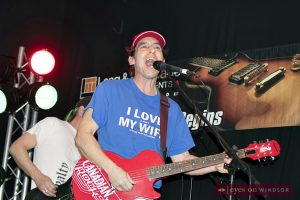 Windsor's Rock of Ages guitarist Andre Burns performing at Average Joe's Sports Bar.