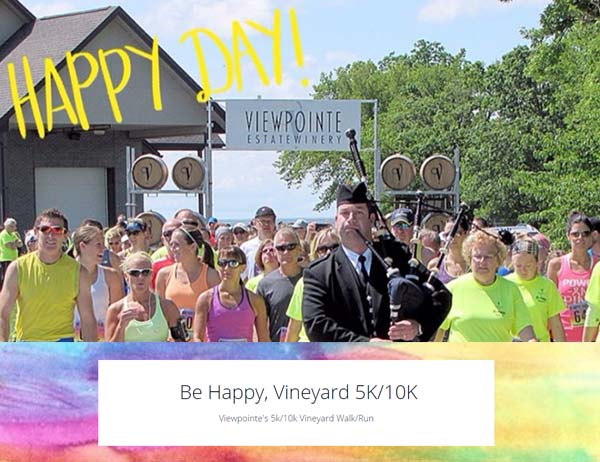 Runners at the starting line of Viewpointe Estate Winerie's Be Happy, Vineyard 5K/10K Walk/Run