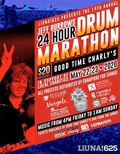 Jeff Burrows 24 Hour Drums Marathon Poster