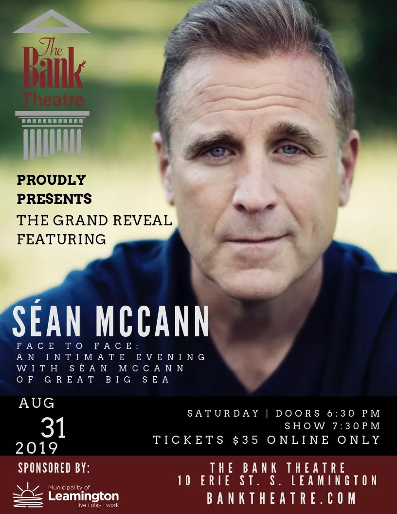 An Intimate Evening With Sean McCann (Great Big Sea) Poster, Bank Theatre Leamington