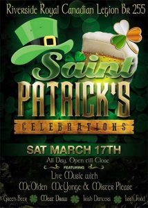 St. Patrick's Day at the Riverside Royal Canadian Legion Branch 255