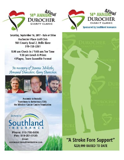 14th Annual Durocher Charity Golf Tournament Poster