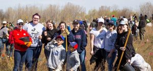 Earth Day Community Tree Planting on the Ganatchio Trail in Windsor, Ontario.