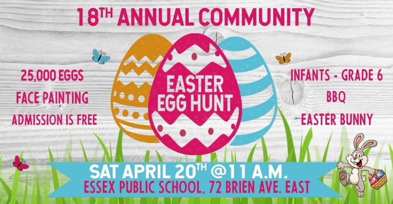 Essex Gospel Community Church Annual Easter Egg Hunt in Essex, ON (Poster).