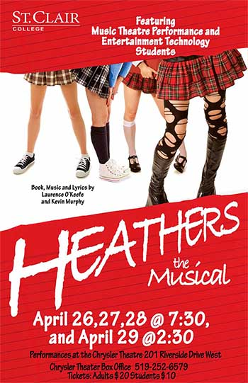 Heathers The Musical | St  Clair College | Chrysler Theatre