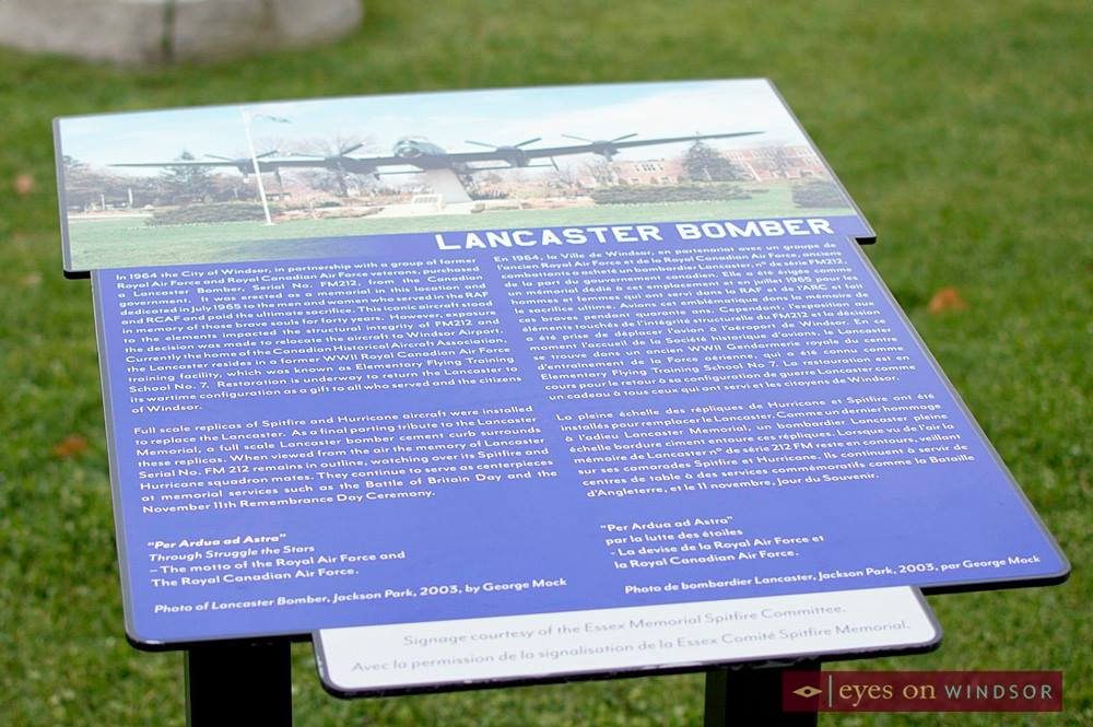 Lancaster Bomber Sign at Jackson Park in Windsor, Ontario.