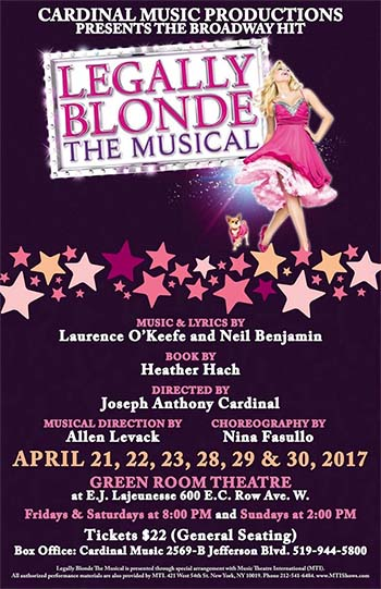 Poster for Legally Blonde The Musical presented by Cardinal Music Productions,