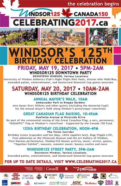 City of Windsor 125 Birthday Celebrations and Street Festival Poster