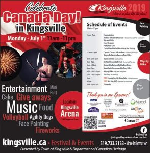Canada Day in Kingsville Celebration and Fireworks Poster