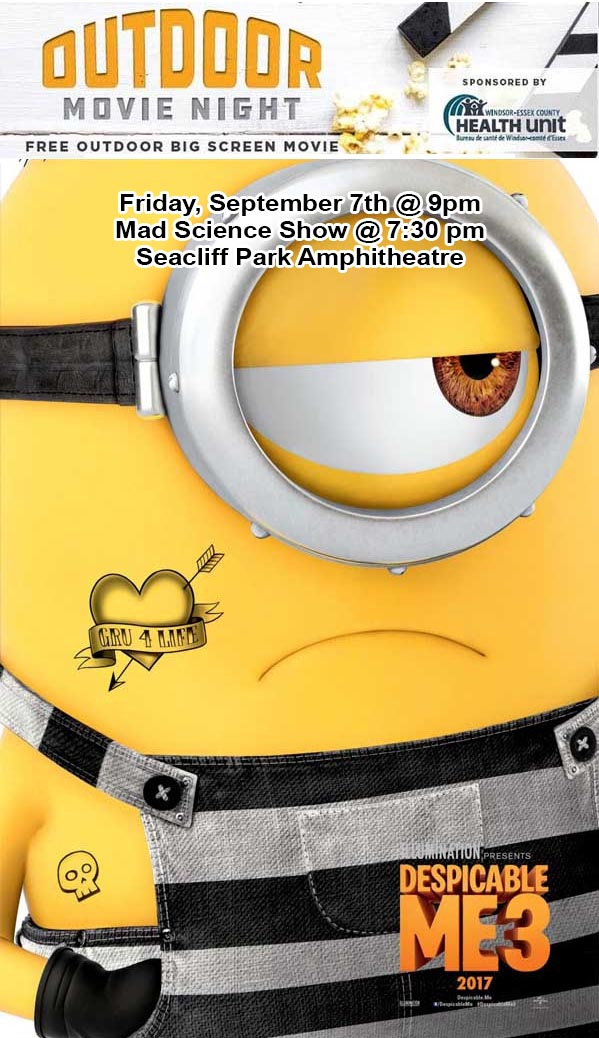 Leamington Outdoor Movie Night Despicable Me 3 Poster Sept 7