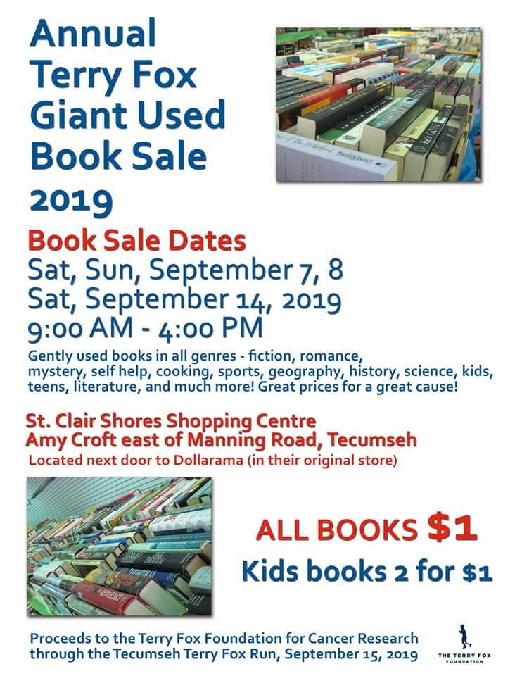 Annual Terry Fox Giant Used Book Sale Poster