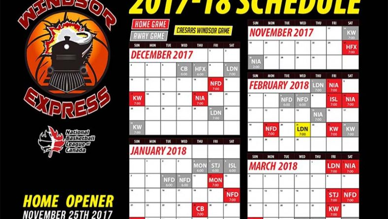 Windsor Express 2017-18 Season Home Schedule Is #BackOnTrack