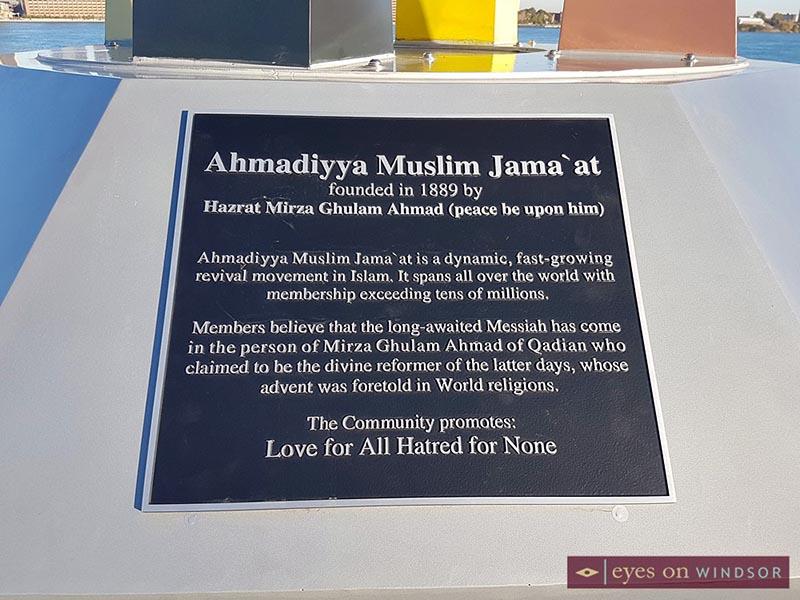 Ahmadiyya Muslim Jamā'at Canada plaque on peace monument in Windsor