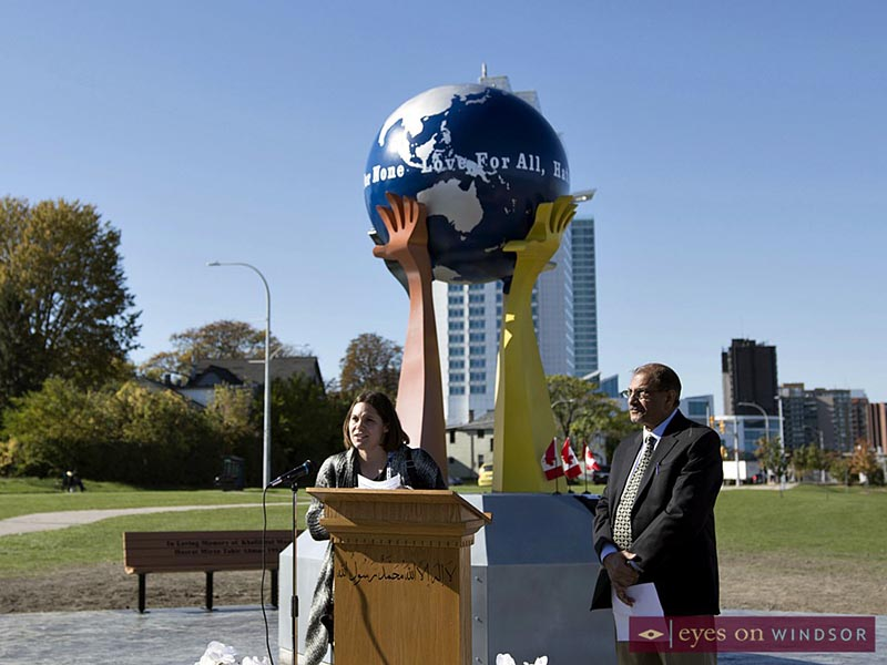 Remarks during peace sculpture monument ceremony in Windsor.