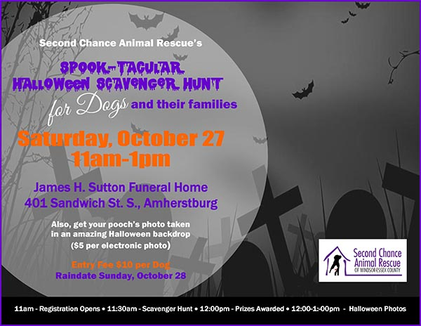 Spooktacular Scavenger Hunt For Dogs & Halloween Pet Photos With Second Chance Animal Rescue Poster