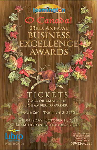 Leamington Chamber of Commerce Annual Business Excellence Awards Poster