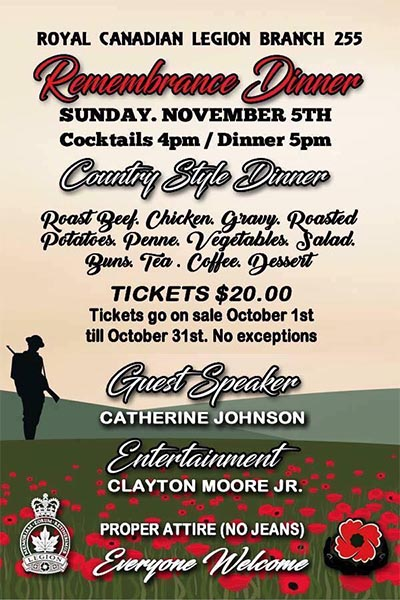Remembrance Dinner Royal Canadian Legion Riverside Branch 255 Poster