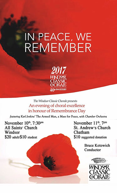 Windsor Classic Chorale Remembrance Day Concert Poster