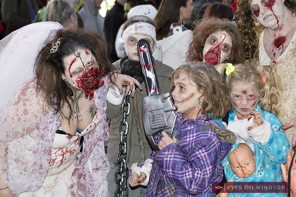 Windsor Zombie Walk, zombie bride and zombie children