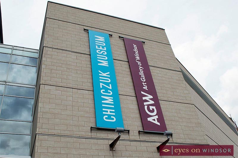 Chimczuk Museum & AGW Banners at entrance to Museum Windsor.