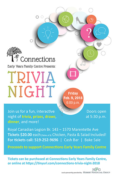 Connections Early Years Family Centre Annual Trivia Night Poster
