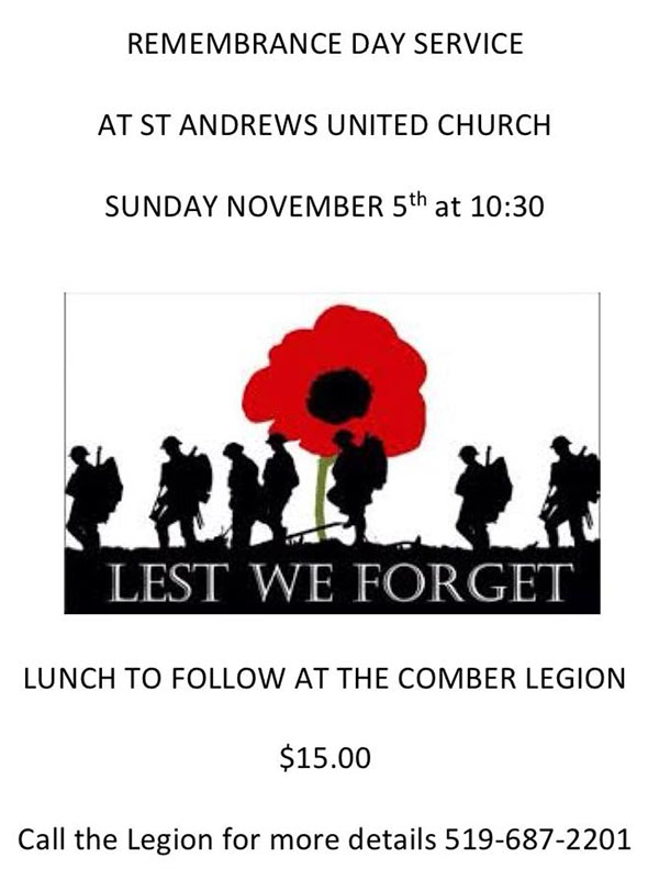 Remembrance Day Service at St. Andrews Church in Comber followed by lunch at the Comber Legion.
