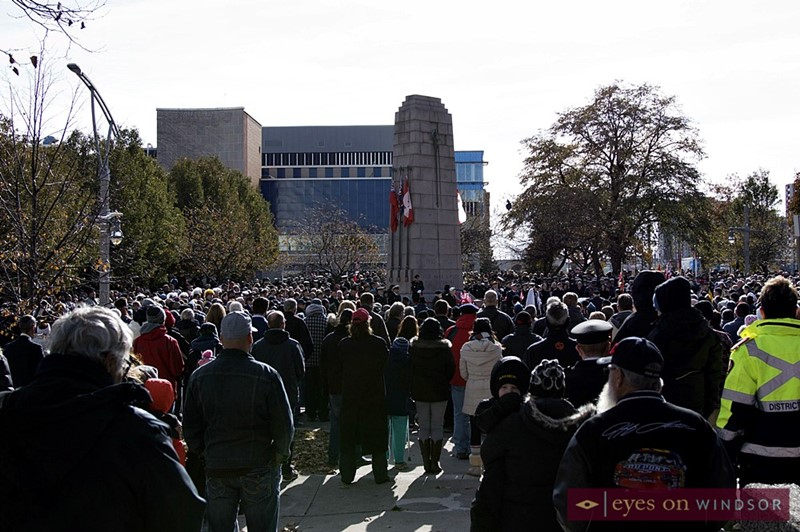 Over a hundred people gathered around the Windsor Cenotaph for the 2017 Remembrance Day Ceremony.