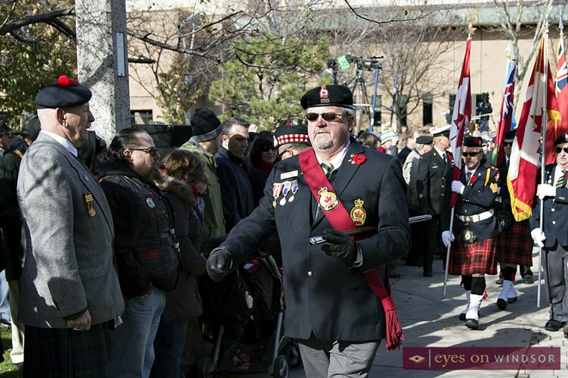 Remembrance Day parade marches off after ceremony at City of Windsor cenotaph.