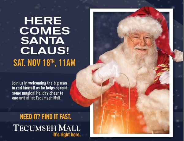 Santa Arrives at Tecumseh Mall Poster