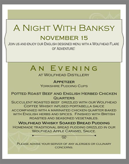 Saving Banksy Dinner Menu at Wolfhead Distillery