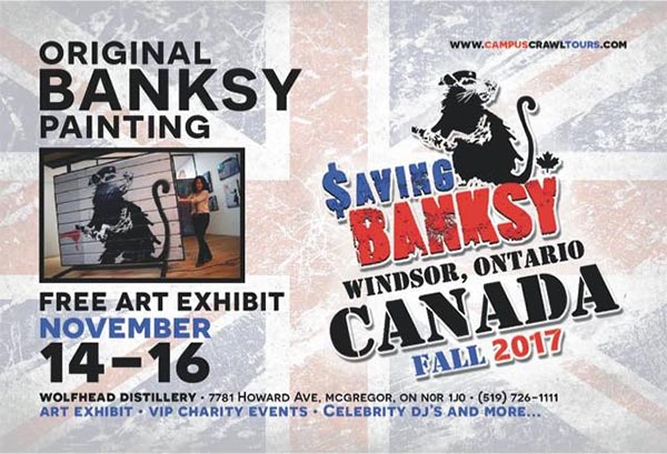 Saving Banksy Art Exhibit Canada Premier at Wolfhead Distillery